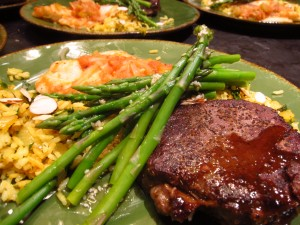 Steak Diane and Poached Fish